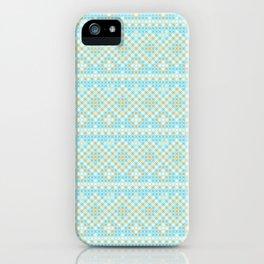 Vintage orange teal stylish cross stitch pattern iPhone Case