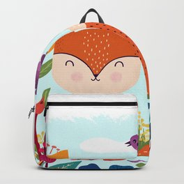 A Fox In The Flowers With A Flying Feathered Friend Backpack
