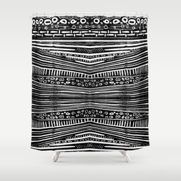 Linocut Tribal Pattern Shower Curtain