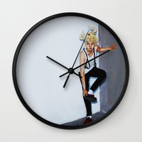 kpop Wall Clocks featuring The Red Shoes by Julia C. Elliott