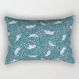 Paper boats with willow branches and dasies on dark background Rectangular Pillow