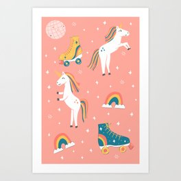 Unicorn Skate Party Art Print