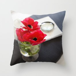Flowers in Bed Throw Pillow