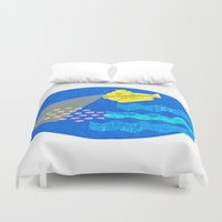 the life aquatic Duvet Covers featuring The Life Aquatic fan art by Alxndra Cook