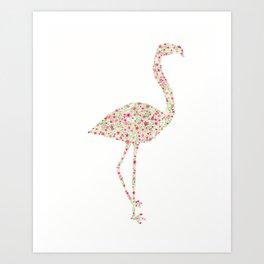 Flamingo Floral Watercolor Art Print