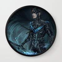 nightwing Wall Clocks featuring Nightwing by Veradia