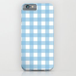Light Blue & White Gingham Pattern iPhone Case