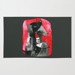 Two wolfs and Little Red Riding Hood Rug