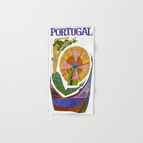 Vintage Portugal Mermaid Travel Hand & Bath Towel