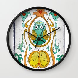 Owls in the nest Wall Clock