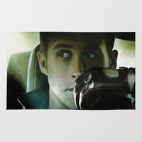 ryan gosling Area & Throw Rugs featuring Ryan Gosling - Drive by Helena McGill