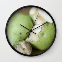 pear Wall Clocks featuring Pear by BiancaDejaNu