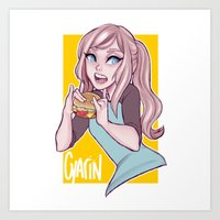 cyarin Art Prints featuring Girl feat. Burger! by Cyarin