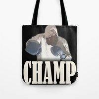 boxing Tote Bags featuring BOXING CHAMP  by Robleedesigns