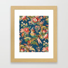 Antique French Chinoiserie in Blue Framed Art Print