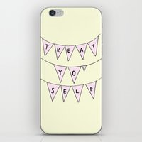 treat yo self iPhone & iPod Skins featuring Treat Yo' Self by Scout Garbaczewski