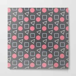 Geo Sprinkles Pink (Black Sesame) Metal Print
