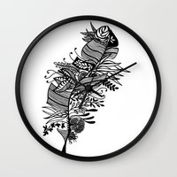 banana leaf Wall Clocks featuring Banana Leaf Black & White Doodle Art by martywoodskk