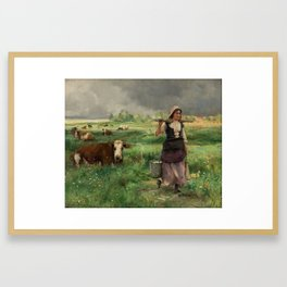 JULIEN DUPRE FRENCH 1851-1910 Le lait frais du matin Framed Art Print