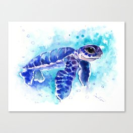 Blue Hawaiian Sea Turtle, Turquoise Blue Cute Animal Sea world Art Canvas Print