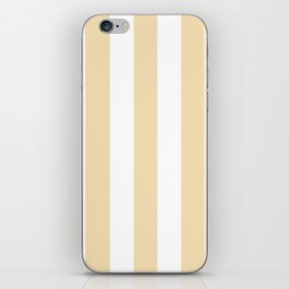 Wheat pink - solid color - white vertical lines pattern iPhone Skin