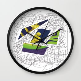 Collage green violet doodle Wall Clock