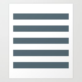 Cadet - solid color - white stripes pattern Art Print