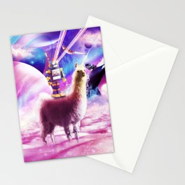 Laser Eyes Outer Space Robot Riding Llama Unicorn Stationery Cards