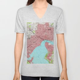 Vintage Map of Jacksonville Florida (1950) Unisex V-Neck