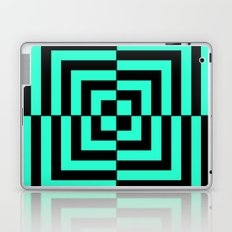 GRAPHIC GRID DIZZY SWIRL ABSTRACT DESIGN (BLACK AND GREEN AQUA) SERIES 5 OF 6 Laptop & iPad Skin