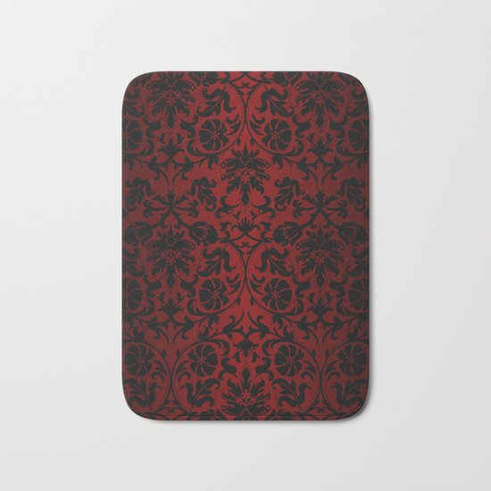 Dark red and black damask bath mat by donna siegrist for Black and white damask bath mat