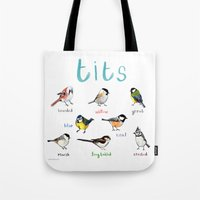 tits Tote Bags featuring Tits Illustration by Sarah Edmonds Illustration