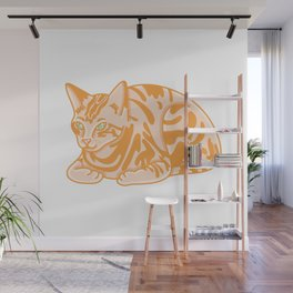 Cute Seated Cat Illustration Wall Mural