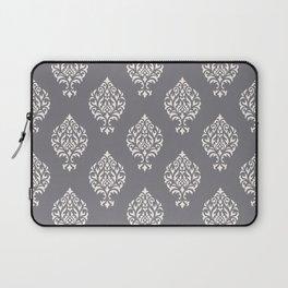 Orna Damask Pattern Cream on Grey Laptop Sleeve