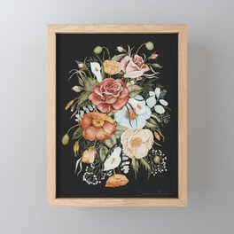 Roses and Poppies Bouquet on Charcoal Black Framed Mini Art Print