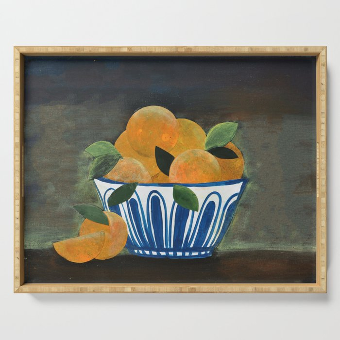 Still Life Oranges in Blue Bowl Serving Tray
