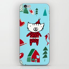 Cute Christmas cat blue iPhone Skin