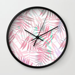 Pastel Color Palms Pattern Wall Clock