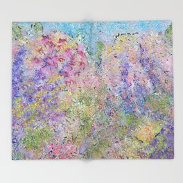 Spring Hydrangeas, Pastel Abstract, Modern Painting Throw Blanket