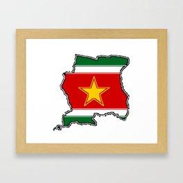 Suriname Surinam map with Surinamer Flag Framed Art Print