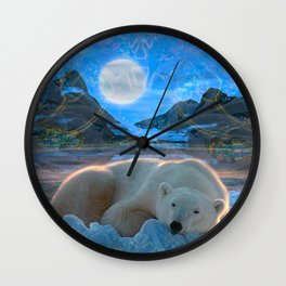 Just Chilling and Dreaming (Polar Bear) Wall Clock