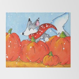 Wolf in the Pumpkin Patch Throw Blanket