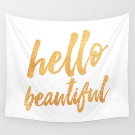 Hello Beautiful - Gold Typography Wall Tapestry