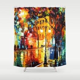 Tardis Time Starry Night Shower Curtain