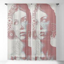 Ayil: Red Shadow | vintage lady portrait | zentangle mandala drawing Sheer Curtain