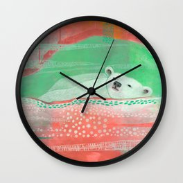 Peach Polar Bear  Wall Clock