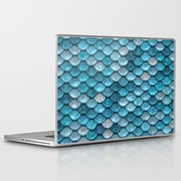lesbian Laptop & iPad Skins featuring light turquoise sparkling scales by Better HOME