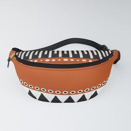 Bohemian orange, black&white tribal vibe Fanny Pack
