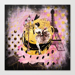 Beautiful fashion girl in Paris - Shopping at the Eiffel Tower Canvas Print