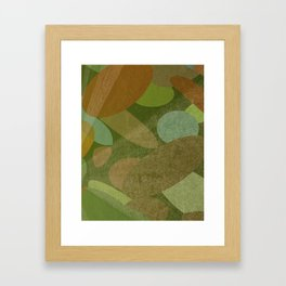 Abstract Autumn Green and Brown Framed Art Print